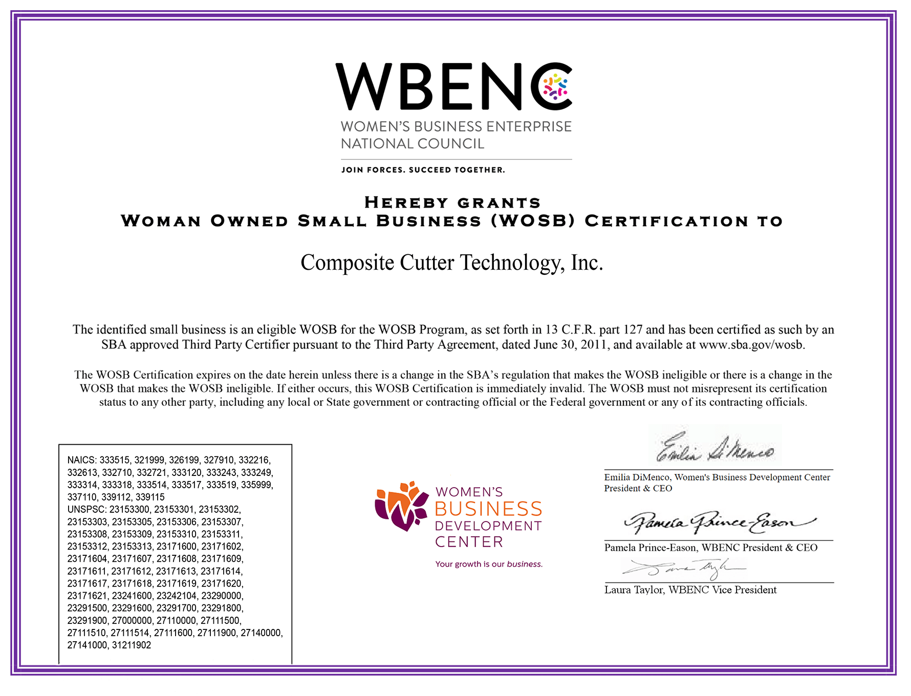 Woman Owned Small Business (WOSB) certification